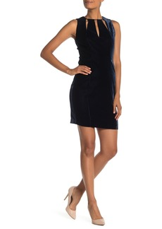 Elie Tahari Jemra Keyhole Velvet Sheath Dress