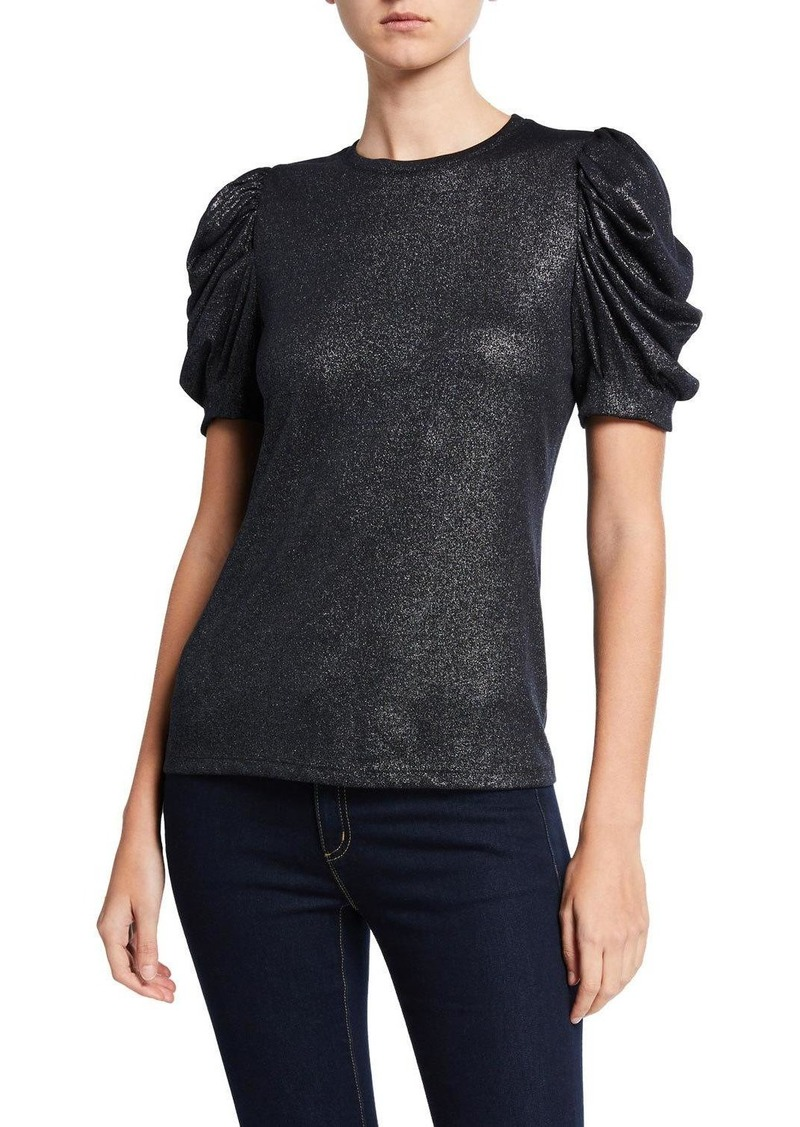 Elie Tahari Jessia Metallic Ruched-Sleeve Top