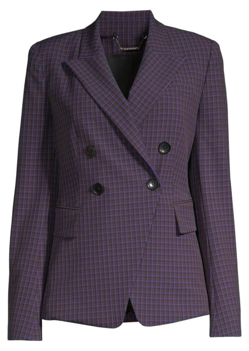 Elie Tahari Jezebel Double Breasted Check Jacket