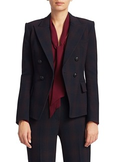 Elie Tahari Jezebel Shadow Plaid Double Breasted Suiting Jacket