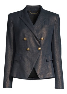 Elie Tahari Jezebel Metallic Linen Double-Breasted Blazer