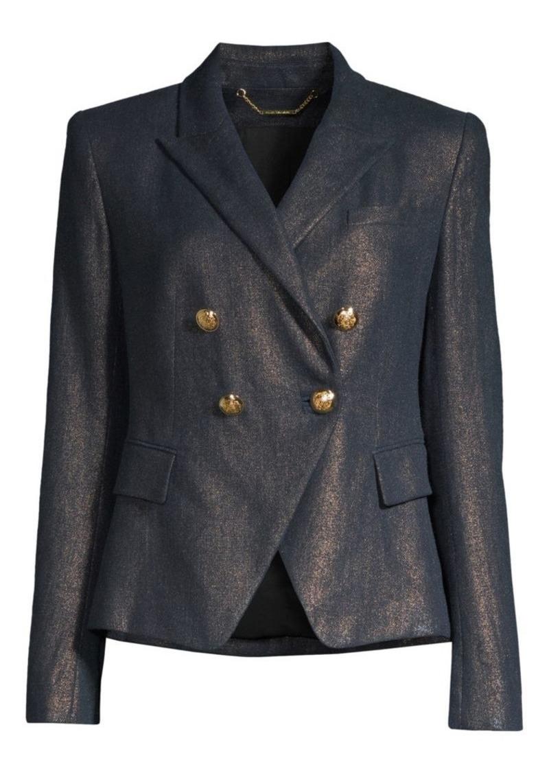 Elie Tahari Jezebel Metallic Linen Double-Breasted Blazer