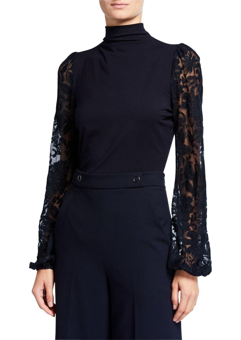 Elie Tahari Johana Sheer Embroidered Sleeve Turtleneck Sweater
