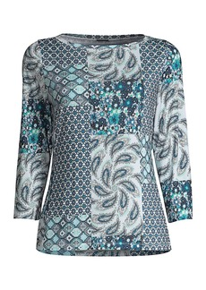 Elie Tahari Jolie Paisely & Floral Three-Quarter Sleeve Top