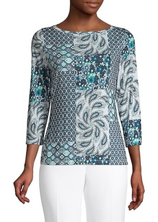 Elie Tahari Jolie Paisely & Floral Three-Quarter Sleeve Top