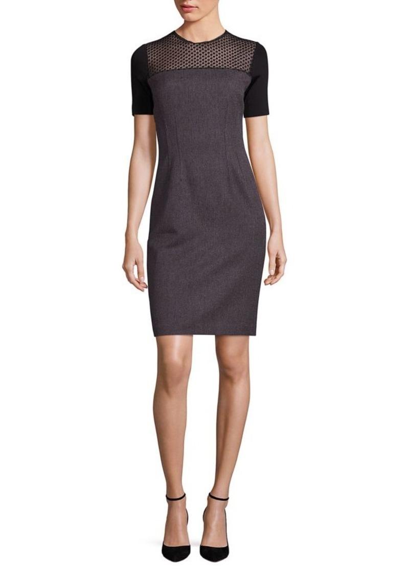 Elie Tahari Josephine Geometric Lace Yoke Sheath Dress
