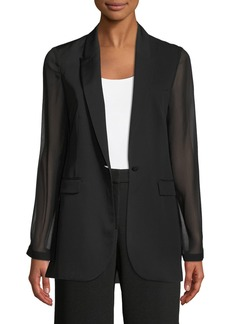 Elie Tahari Jovana One-Button Sheer-Sleeve Jacket