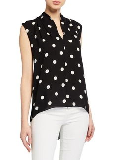Elie Tahari Judith Dotted Sleeveless Shirt