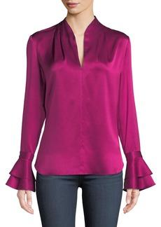Elie Tahari Judith Long-Sleeve Silk Blouse w/ Tiered Cuffs