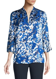 Elie Tahari Judith Silk Burnout Blouse