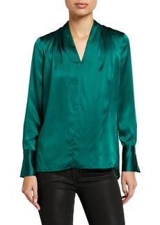 Elie Tahari Judith V-Neck Long-Sleeve Silk Blouse