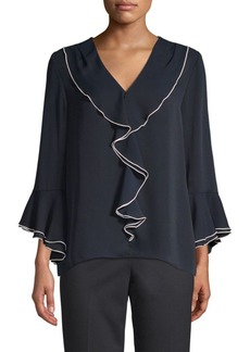 Elie Tahari Julianna Georgette Ruffled Blouse