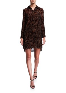 Elie Tahari Juliet Animal-Print Long-Sleeve Shirtdress