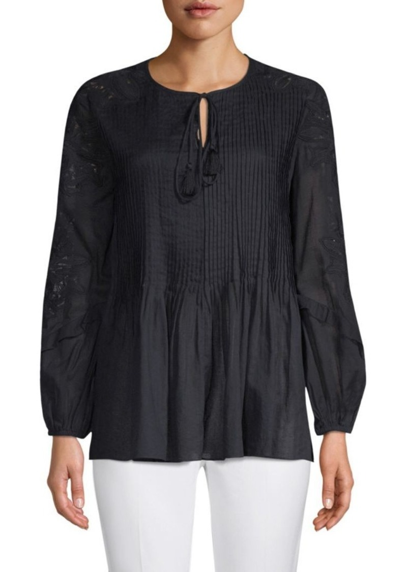 Elie Tahari June Cotton Peasant Blouse Casual Shirts