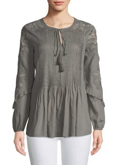 Elie Tahari June Floral-Embroidered Blouse