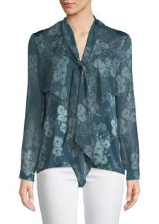 Elie Tahari Jurnee Tie-Neck Long-Sleeve Floral-Print Silk Blouse