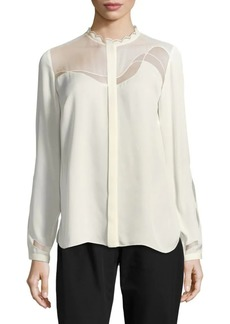 Elie Tahari Justina Long-Sleeve Silk-Blend Blouse