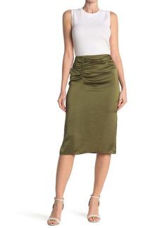 Elie Tahari Justine Satin Ruched Midi Skirt