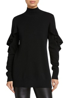 Elie Tahari Kacey Mock-Neck Ruffle-Trim Wool Sweater