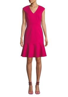 Elie Tahari Kadisha V-Neck Flounce Dress