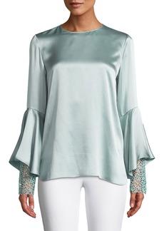 Elie Tahari Kaia Flutter-Sleeve Silk Blouse