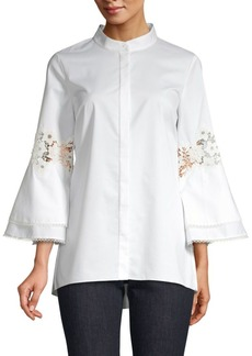 Elie Tahari Kaila Lace Eyelet Kimono Sleeve Button-Down Shirt