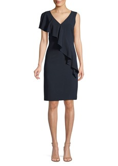 Elie Tahari Kailey Ruffle-Front Crepe Dress