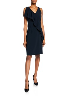 Elie Tahari Kailey V-Neck Sleeveless Draped-Trim Dress