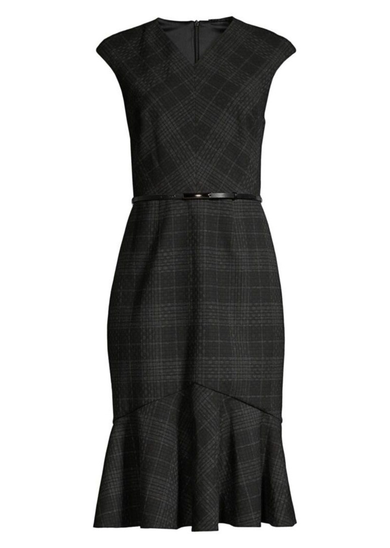 Elie Tahari Kaitlyn Plaid Flounce Sheath Dress