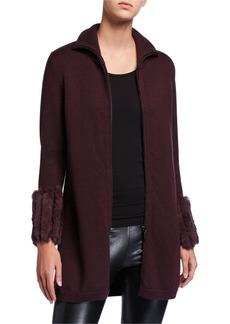 Elie Tahari Kassia Wool Zip-Front Sweater with Rabbit Fur