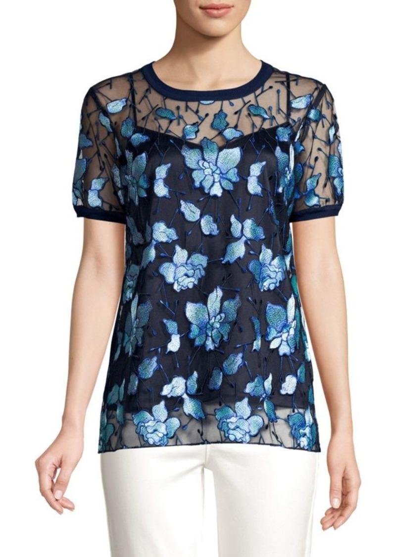 Elie Tahari Kay Embroidered Sheer Blouse