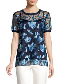Elie Tahari Kay Embroidered Sheer Blouse