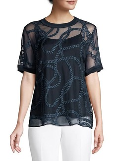 Elie Tahari Kelsey Embroidered Silk Top