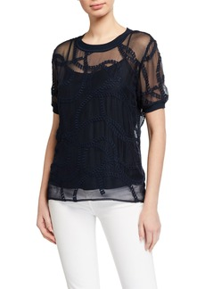 Elie Tahari Kelsey Sheer Embroidered Shirt w/ Camisole