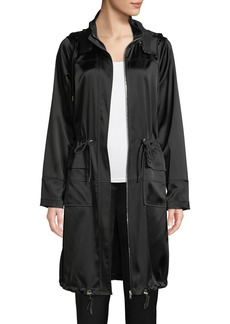 Elie Tahari Kendra Hooded Satin Coat