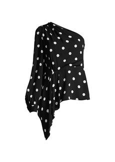Elie Tahari Kristy Polka Dot One-Shoulder Top