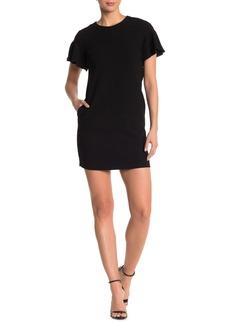 Elie Tahari Krystal Flutter Sleeve Mini Shift Dress