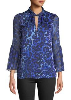 Elie Tahari Laraib Keyhole Long-Sleeve Leopard-Print Silk Blouse