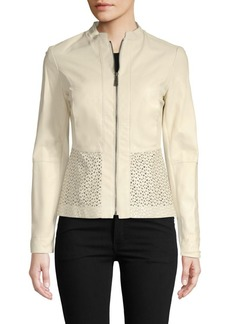 Elie Tahari Lasercut Leather Jacket