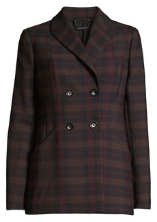 Elie Tahari Launie Plaid Double-Breasted Blazer