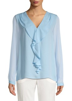 Elie Tahari Laurie Silk Ruffle-Front Blouse