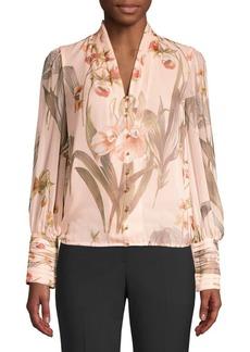Elie Tahari Laya Floral Silk Blouse