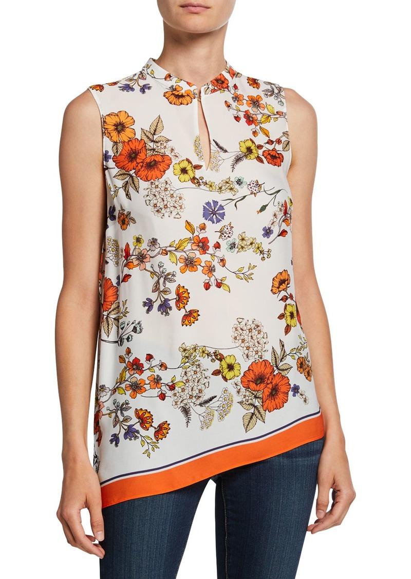 Elie Tahari Layla Floral Sleeveless Asymmetric Blouse w/ Mandarin-Collar