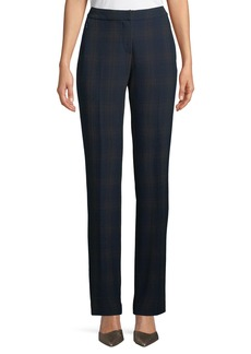 Elie Tahari Leena Straight-Leg Plaid Pants