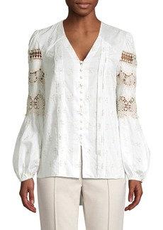 Elie Tahari Leigha Embroidered Lace Eyelet Marie Sleeve Blouse