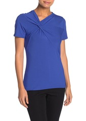 Elie Tahari Letti Twist Front Short Sleeve Top