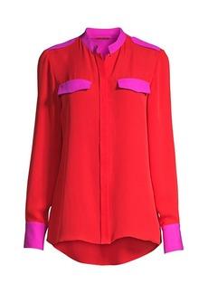 Elie Tahari Lexi Bi Color Silk Blouse