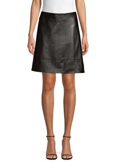 Elie Tahari Lexie Leather A-Line Mini Skirt