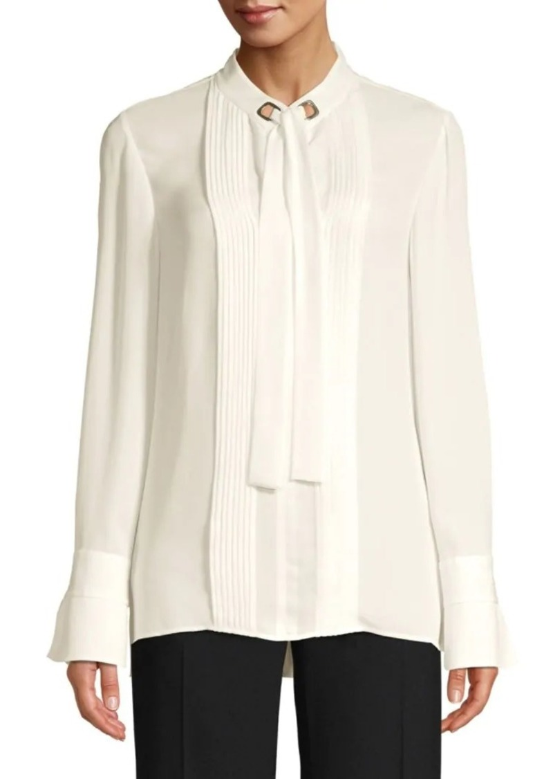 Elie Tahari Lisa Pleat Front Tie-Neck Blouse