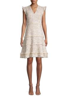 Elie Tahari Loraine Fringed Tweed Flare Dress